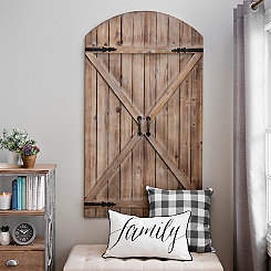 Natural Wood Barn Door Wall Plaque