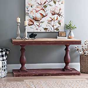 Distressed Red Double Pedestal Console Table