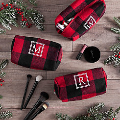 Red Plaid Monogram Travel Bags