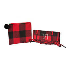 Red Plaid Monogram B 2-pc. Travel Bag Set