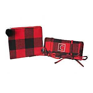 Red Plaid Monogram C 2-pc. Travel Bag Set