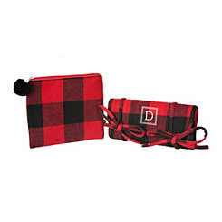 Red Plaid Monogram D 2-pc. Travel Bag Set