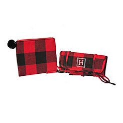 Red Plaid Monogram H 2-pc. Travel Bag Set