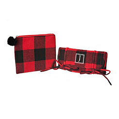 Red Plaid Monogram J 2-pc. Travel Bag Set