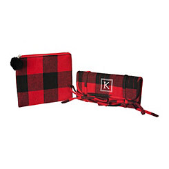 Red Plaid Monogram K 2-pc. Travel Bag Set