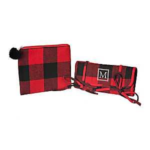 Red Plaid Monogram M 2-pc. Travel Bag Set