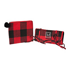 Red Plaid Monogram M 2-pc. Travel Bag Set