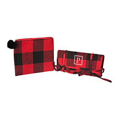 Red Plaid Monogram P 2-pc. Travel Bag Set