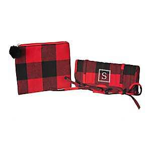 Red Plaid Monogram S 2-pc. Travel Bag Set