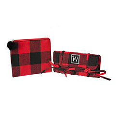 Red Plaid Monogram W 2-pc. Travel Bag Set
