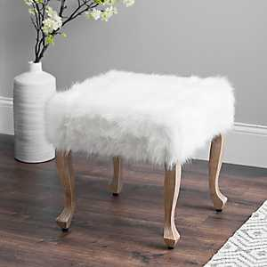 White Faux Fur and Distressed Wood Ottoman