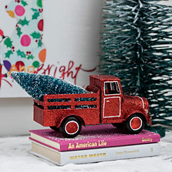 Red Glitter Truck Hauling Tree Figurine
