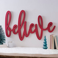 Cutout Red Believe Sign