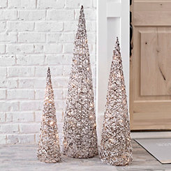 Pre-Lit Rattan Ice Trees, Set of 3