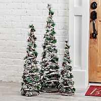 Pre-Lit Pine Needle Christmas Trees, Set of 3