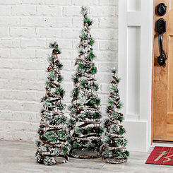 Pre-Lit Pine Needle Christmas Trees, Set of 3
