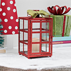 Red Glitter Present LED Candle Lantern
