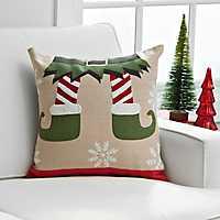 Elf Feet Christmas Pillow