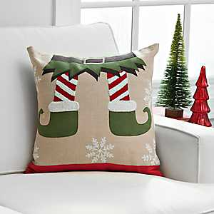 Elf Feet Christmas Pillow
