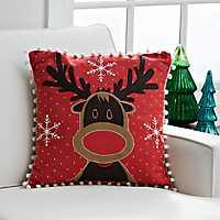 Reindeer Pom Pom Christmas Pillow