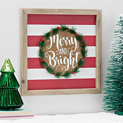 Merry and Bright Wreath Christmas Wall Plaque