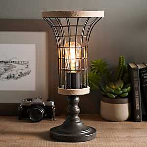Metal and Burlap Edison Bulb Uplight