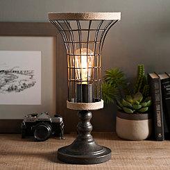 Metal and Burlap Edison Bulb Uplight