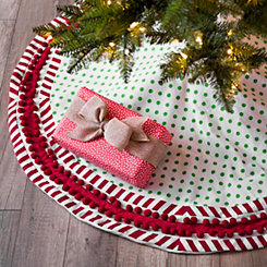Polka Dot With Pom Trim Tree Skirt