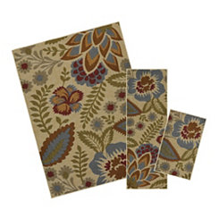 Crewel Floral 3-pc. Rug Set