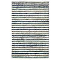 Blue Boardwalk Stripe Shag Area Rug, 5x8