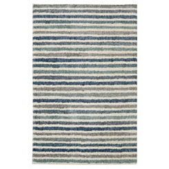 Blue Boardwalk Stripe Shag Area Rug, 5x8