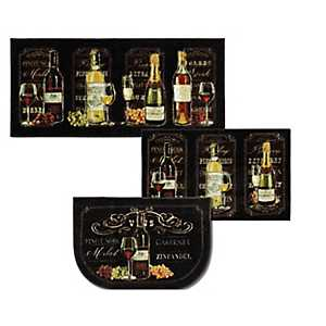 Wine Chalkboard Sign Accent Rugs, Set of 3