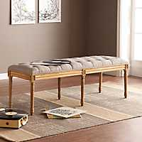 Dove Gray Olivia Tufted Bench