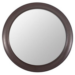 Bronze Woodgrain Round Wall Mirror