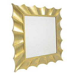 Gold Wave Square Wall Mirror