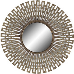 Champagne Geometric Round Wall Mirror
