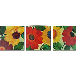 Floral Anemone Wood Art Prints, Set of 3