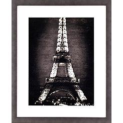 black and white eiffel tower framed art print