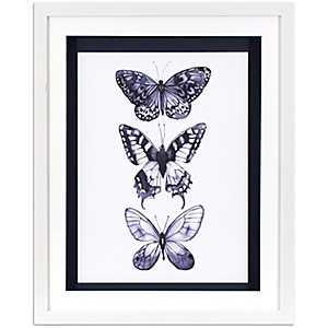 Monochrome Butterflies Framed Art Print