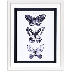 Monochrome Butterflies Framed Art Print