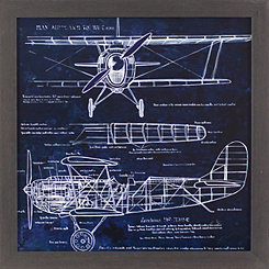 Airplane Blueprint Framed Art Print