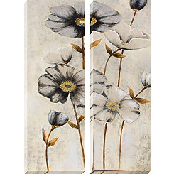 Vintage Gray Poppies Canvas Art Prints, Set of 2