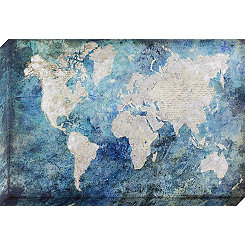 Silver and Blue World Map Canvas Art Print