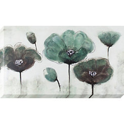 Teal and Gray Poppy Field Canvas Art Print