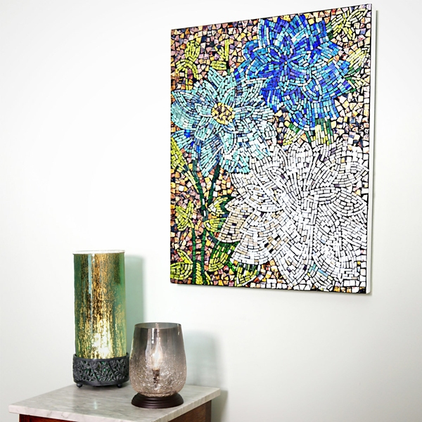 Blue Dahlias Mosaic Wall Plaque