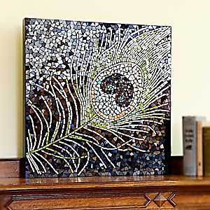Peacock Feather Mosaic Wall Plaque