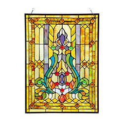 Fleur de Lis Stained Glass Panel Plaque