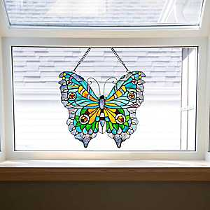 Swallowtail Butterfly Stained Glass Panel Plaque