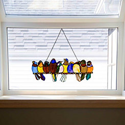 Birds on a Wire Stained Glass Panel Plaque