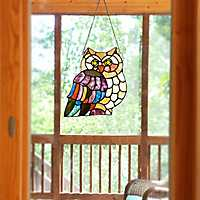 Hoot Owl Stained Glass Panel Plaque